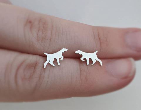 Sterling Silver English Pointer Stud Earrings