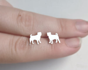 Sterling Silver Pug Earrings handmade by An American Metalsmith