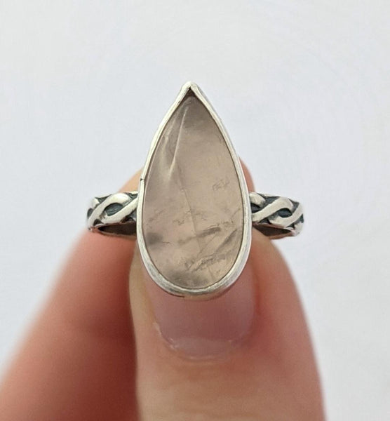 Sterling Silver Rose Quartz Ring, Size 8