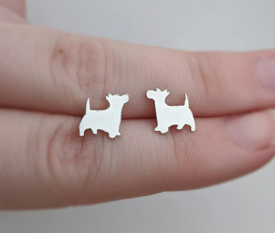 Sterling Silver Scottish Terrier Stud Earrings