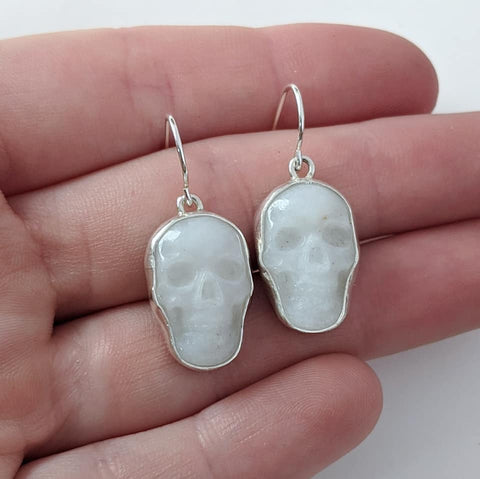 Sterling Silver Quartz Skull Earrings