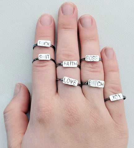 Sterling silver swear rings handmade by An American Metalsmith