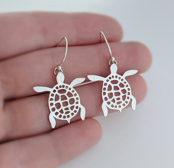 Sterling Silver Sea Turtle Dangle Earrings handmade by An American Metalsmith