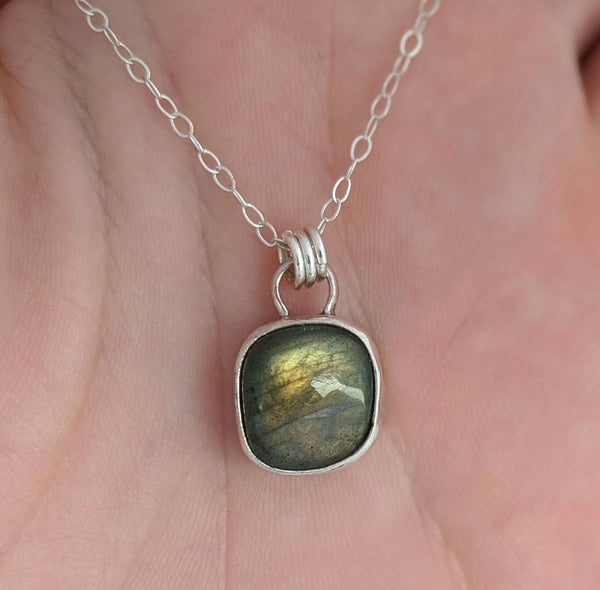 Sterling Silver and Square Labradorite Necklace