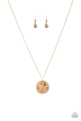 Paparazzi Necklace - Breezy Palm Trees - Gold
