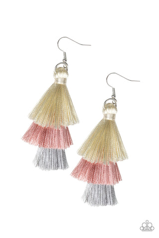 Paparazzi Earring - Hold On To Your Tassel! - Pink