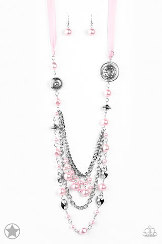 Paparazzi Necklace - All The Trimmings - Pink Blockbuster