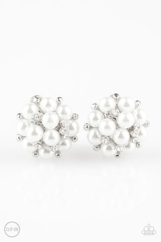 Paparazzi Earring - Par Pearl - White Clip-On
