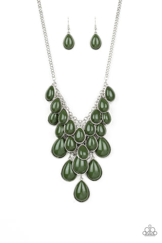 Paparazzi Necklace - Shop 'till You TEARDROP - Green
