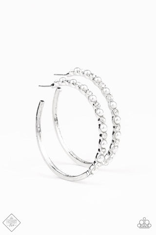 Paparazzi Earring - A Sweeping Success - White Hoop