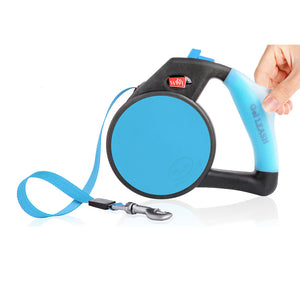 Wigzi Retractable Dog Leash with Gel Handle in Blue