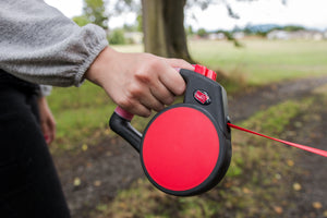 person holding Wigzi Retractable Dog Leash with Gel Handle in red