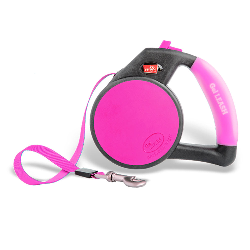 Wigzi Retractable Dog Leash with Gel Handle in bright pink color