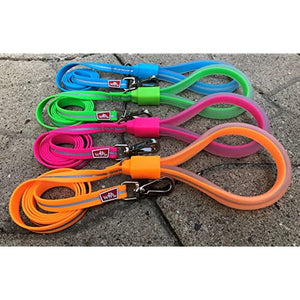 waterproof dog leash with flexible gel handle in blue, green, pink, and orange