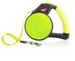 Yellow Reflective Retractable Dog Leash With Gel Handle
