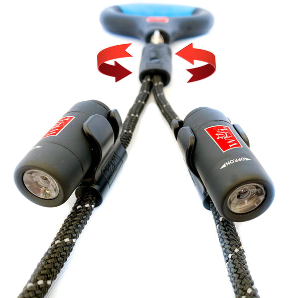 dual dog leash with individual rechargeable lights