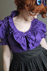 Zeon Kitty Steampunk Lolita Ruffle Blouse Purple