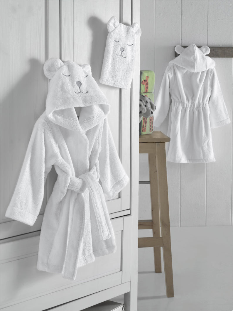 Polar Bear Bathrobe, Cotton, White