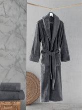 Load image into Gallery viewer, Cotton Bathrobe, Shawl Collar, Grey, Charcoal