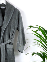 Load image into Gallery viewer, Unisex Shawl Collar Bathrobe Charcoal