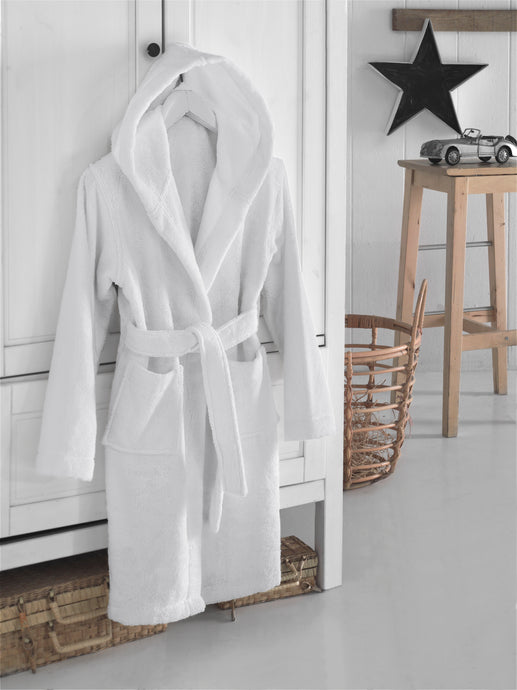 Kids bathrobe, hooded bathrobe, white