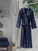 Load image into Gallery viewer, Unisex Hooded Bathrobe Navy