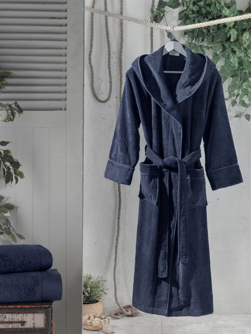 Navy Bathrobe, Cotton Bathrobe, Hooded Bathrobe