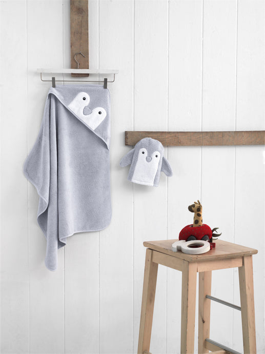 Penguin hooded towel, baby towel, grey