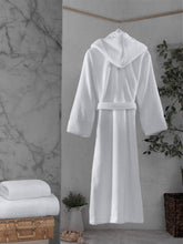 Load image into Gallery viewer, Unisex Hooded Bathrobe White