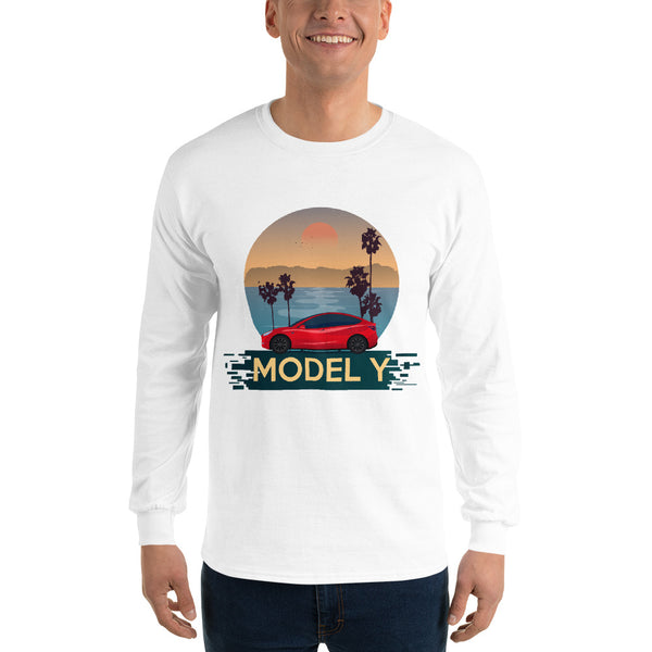 Red Model Y Beach Scene - Unisex Long Sleeve Shirt