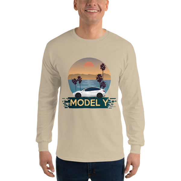 White Model Y Beach Scene - Unisex Long Sleeve Shirt
