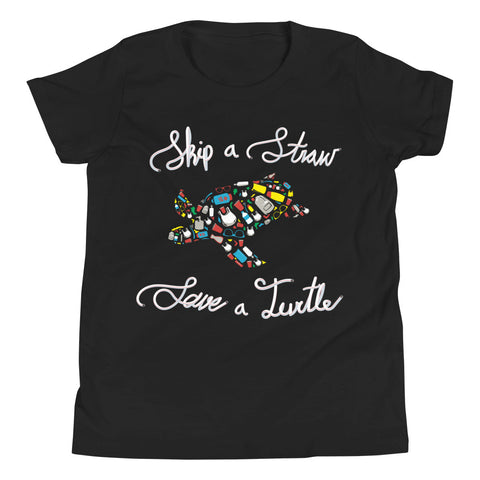 Skip a Straw Save a Turtle (color) - Youth Short Sleeve T-Shirt