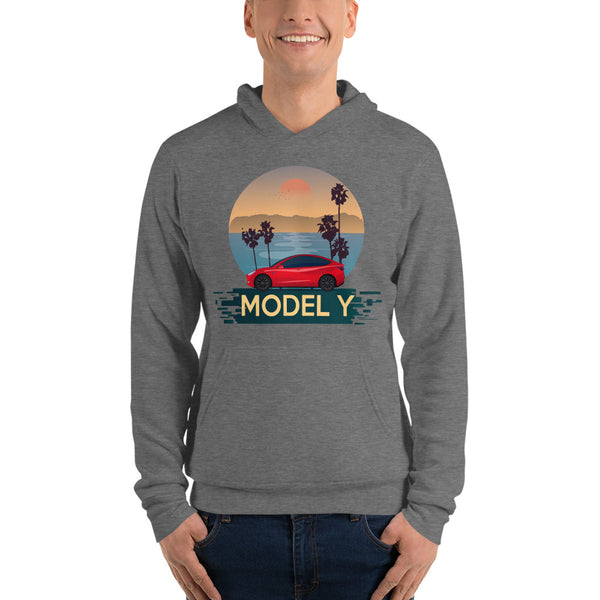 Red Model Y Beach Scene - Unisex hoodie