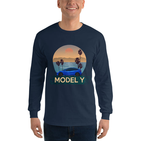 Blue Model Y California Drive - Men's Long Sleeve Shirt