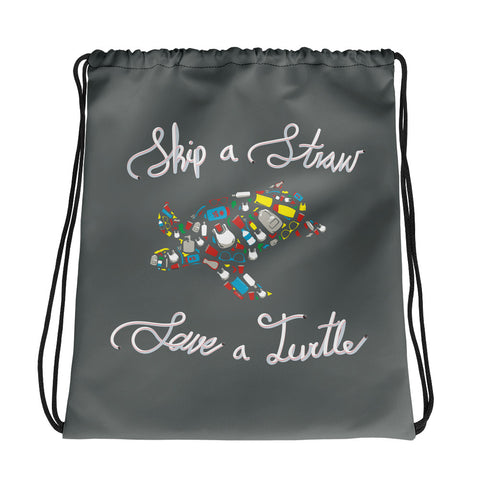 Skip a Straw Save a Turtle - Drawstring Bag