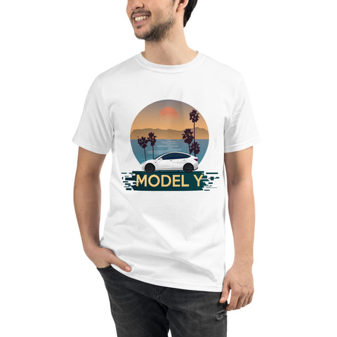White Model Y Beach Scene - Organic T-Shirt