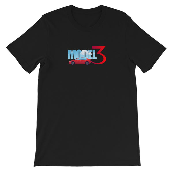 Red Model 3 Sky Text - Short-Sleeve Unisex T-Shirt