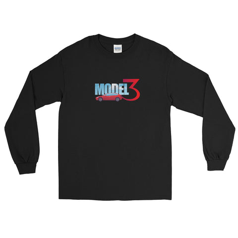 Red Model 3 Sky Text - Long Sleeve T-Shirt