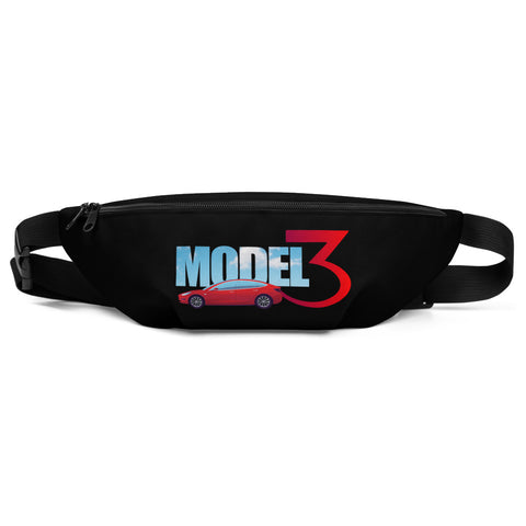 Red Model 3 Sky Text - Fanny Pack