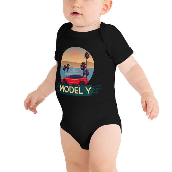Red Model Y Beach Scene - Onesie