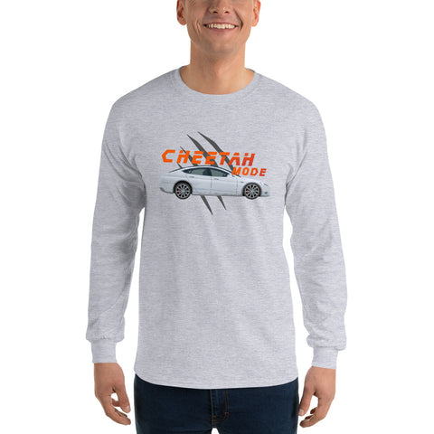 Cheetah Mode White - Men's Long Sleeve Shirt