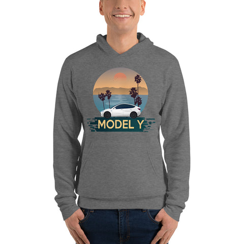 White Model Y Beach Scene - Unisex hoodie