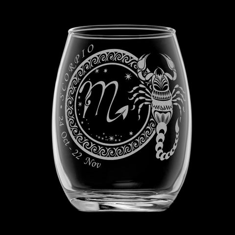 Laser Engraved Scorpio Horoscope Wineglass (15oz)