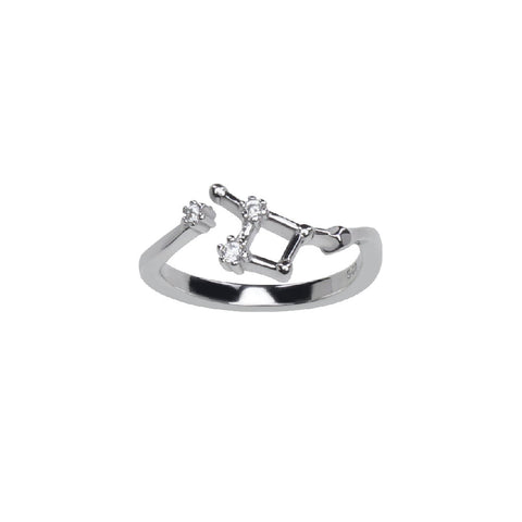 Pure Silver Horoscope Constellation Ring (Cancer)