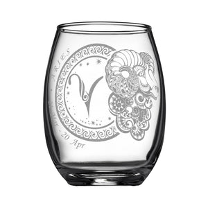 Laser Engraved Aries Horoscope Wineglass (15oz)