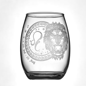 Laser Engraved Leo Horoscope Wineglass (15oz)