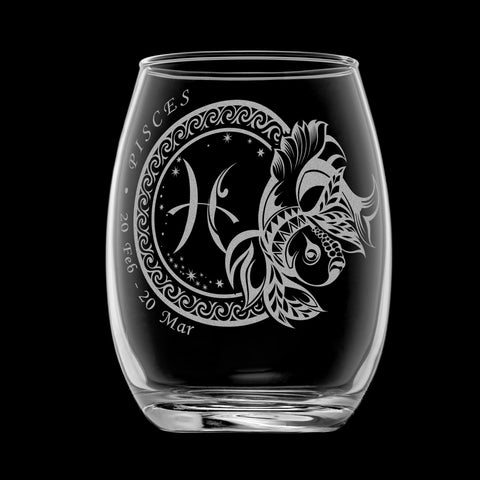 Laser Engraved Pisces Horoscope Wineglass (15oz)