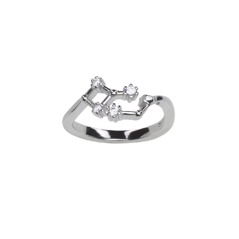 Pure Silver Horoscope Constellation Ring (Leo)
