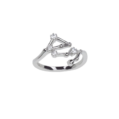 Pure Silver Horoscope Constellation Ring (Libra)
