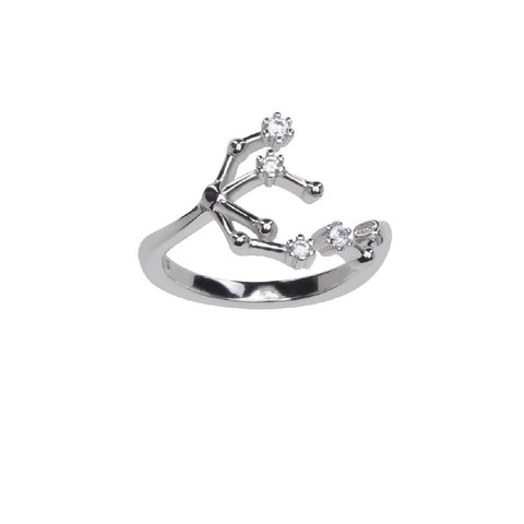 Image of Pure Silver Horoscope Constellation Ring (Gemini)